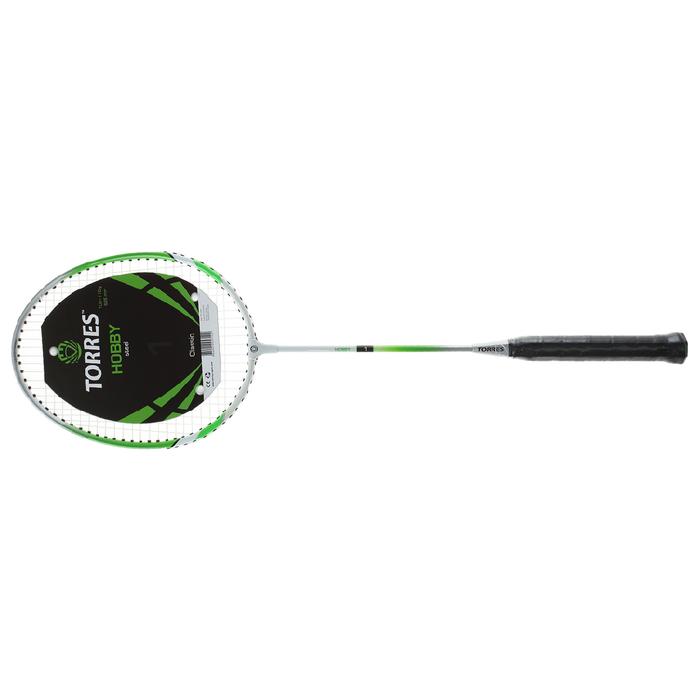 Ракетка для бадминтона TORRES Hobby1, BD-504, для начинающих, стальной стержень и обод, со струнами, зелёный/белый
