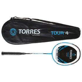 Ракетка для бадминтона TORRES, Tour4, BD-501, для любителей, стержень из графита, алюминиевый обод, со струнами Ош