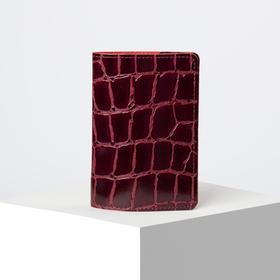 Обложка для паспорта, скат, цвет бордовый