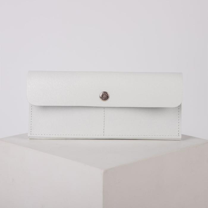 Кошелёк женский, 2 отдела на клапане, цвет белый