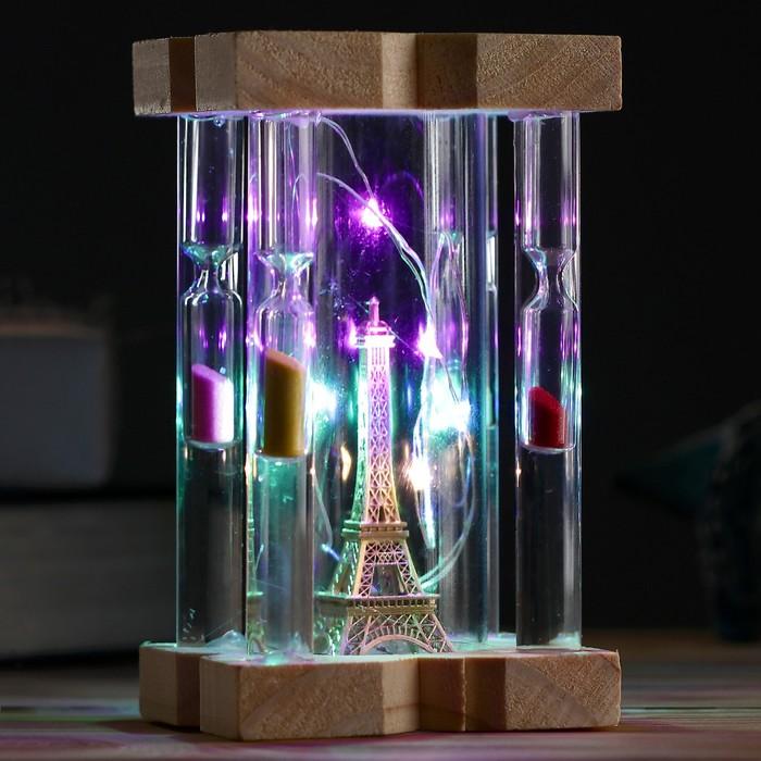 Часы песочные Вечерний Париж, 8х14 см, с подсветкой, микс