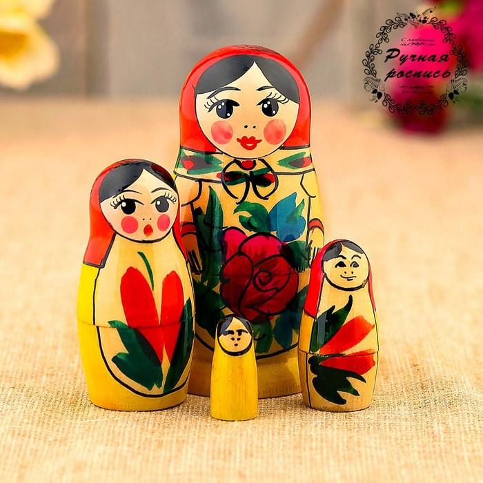 Матрёшка Семёновская, красный платок, 4 кукольная, 9 см