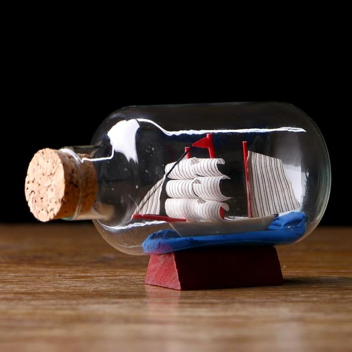 Корабль Анна в бутылке, паруса микс , 7,54,25см
