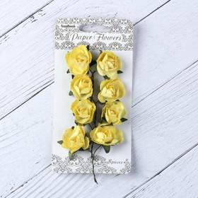 """Цветы розы бумажные """"Нежно-желтые"""" набор 8 шт"""