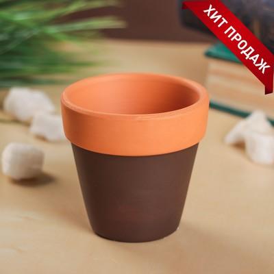 Кашпо керамическое глиняное 6*6*6 см - Фото 1