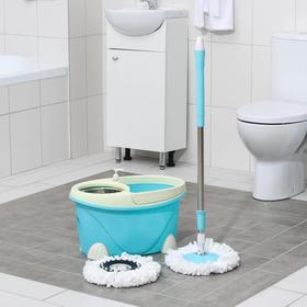 Набор для уборки: ведро с металлической центрифугой 16 л, швабра, запасная насадка, цвет МИКС Ош