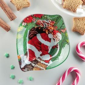 Блюдо сервировочное Доляна «Лист. Удачи, Санта», 14×12×2 см