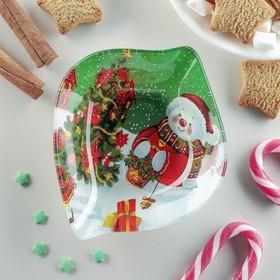 Блюдо сервировочное Доляна «Лист. Снеговичок», 14×12×2 см