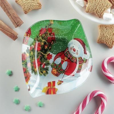 Блюдо сервировочное Доляна «Лист. Снеговичок», 14×12×2 см - Фото 1