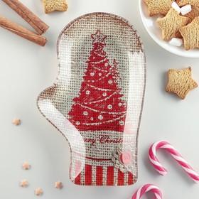 Блюдо сервировочное Доляна «Рукавица. Merry Christmas», 22,5×14×2 см