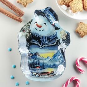 Блюдо сервировочное Доляна «Снеговик и сказочный домик», 20×14,5×1,7 см