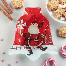 Блюдо сервировочное Доляна «Колокольчик. Дед Мороз», 18×17×1,5 см