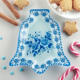 Блюдо сервировочное Доляна «Колокольчик. Синева роз», 18×17×1,5 см