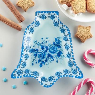 Блюдо сервировочное Доляна «Колокольчик. Синева роз», 18×17×1,5 см - Фото 1