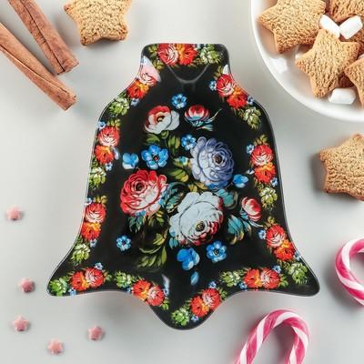 Блюдо сервировочное Доляна «Колокольчик. Цветы», 18×17,2 см - Фото 1