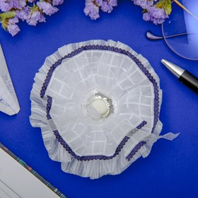 Резинка для волос бант 'Школьница' 11 см, синий кант, цветок Ош
