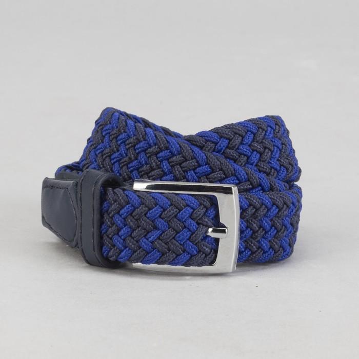 Ремень детский, резинка, пряжка металл, ширина - 3 см, цвет серый/чёрный/синий
