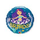 """Шар фольгированный 18"""" """"С днём рождения!"""", русалка, фиолетовые волосы"""