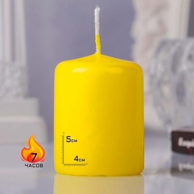 Свеча - цилиндр, 4х5см, жёлтая - Фото 1