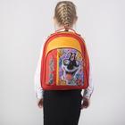 Рюкзак школьный, отдел на молнии, 2 наружных кармана, цвет красный/жёлтый