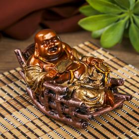 Нэцке полистоун бронза 'Хотей в кресле-качалке' 6,5х10х6,4 см Ош