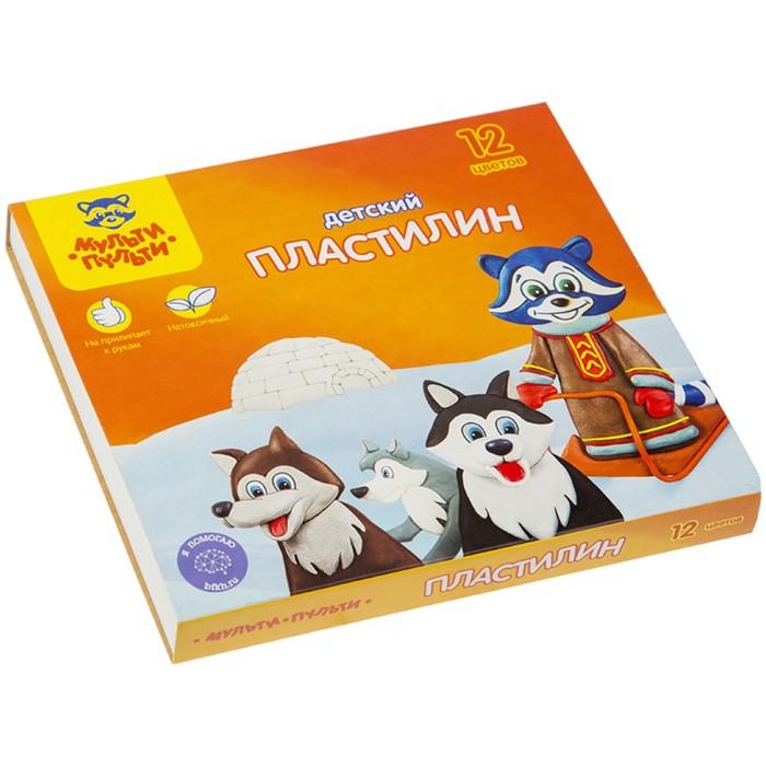 """Пластилин 12 цветов """"Мульти-пульти"""", """"Енот на Аляске"""", стек, картонная упаковка, 180 г"""