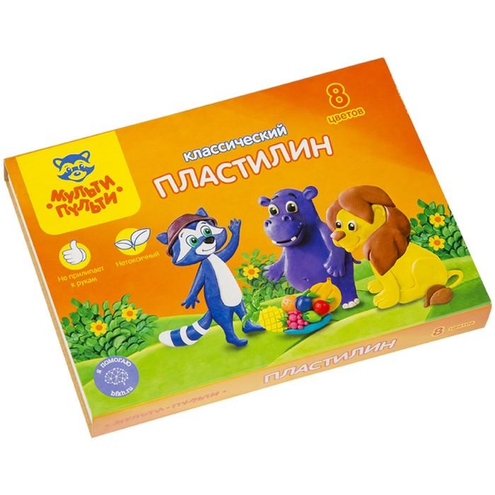 """Пластилин 8 цветов """"Мульти-пульти"""", """"Приключения Енота"""", стек, картонная упаковка, 160 г"""