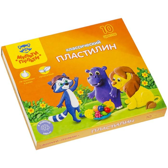 """Пластилин 10 цветов """"Мульти-пульти"""", """"Приключения Енота"""", стек, картонная упаковка, 200 г"""