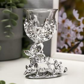 """Подсвечник пластик, стекло """"Бабочка"""" серебро 12х7,5х6 см"""