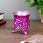 """Подсвечник пластик, стекло """"Цветок лотоса"""" фиолет 6,5х6х6 см - Фото 2"""