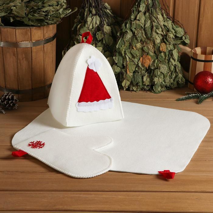 """Набор банный подарочный """"С Новым годом"""" (коврик, рукавица, шапка), войлок, красный"""