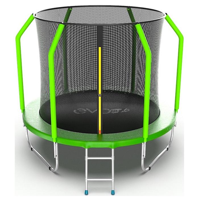 Батут EVO JUMP Cosmo Internal, d=244 см, с внутренней защитной сеткой и лестницей, цвет зелёный