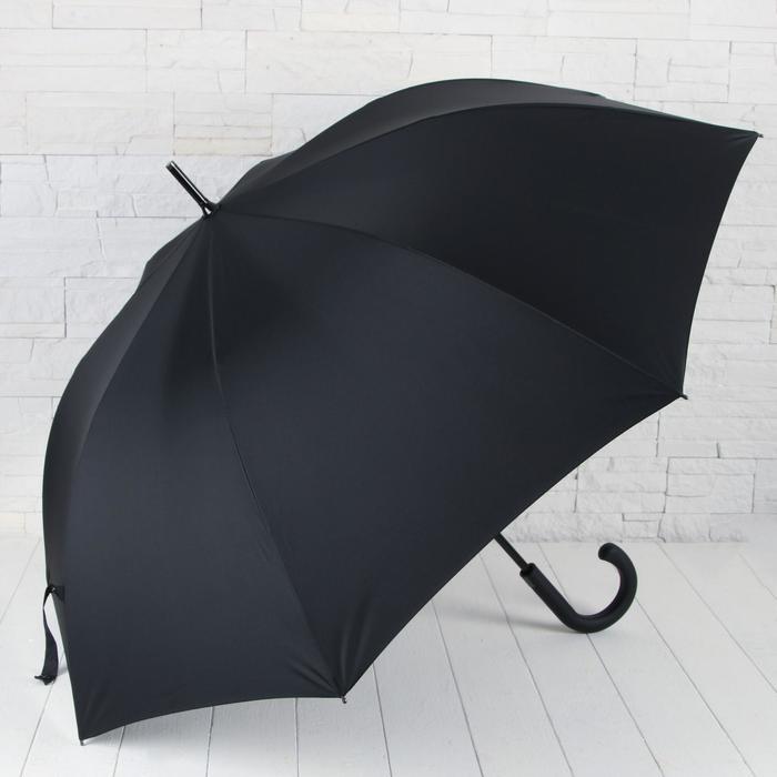 Зонт - трость полуавтоматический «Однотонный», 8 спиц, R = 56 см, цвет чёрный