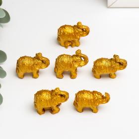 Нэцке полистоун 'Золотые слоны' набор 6 шт 3х3,5х1,7 см Ош