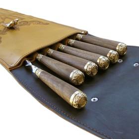 Шампуры подарочные 6 шт. в колчане из натуральной кожи Ош