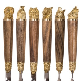Шампуры 6 шт. «Разные звери» с рукоятью из ореха и латуни Ош