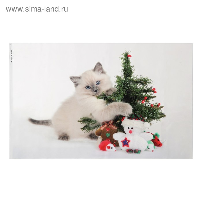"""Фотофон винил """"Котенок с ёлочкой"""" 80х125 см"""