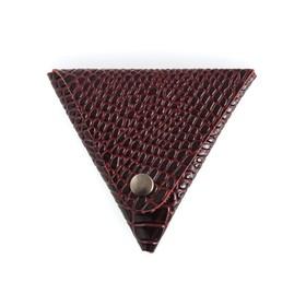 Футляр для монет, н/к, цвет бордо крокодил