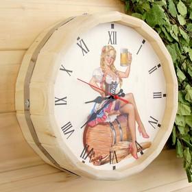 Часы банные бочонок 'Добропаровъ. Дама с пивом' Ош