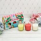 """Набор свечи стаканы в коробке домик """"Тропического настроения"""", 3 свечи"""