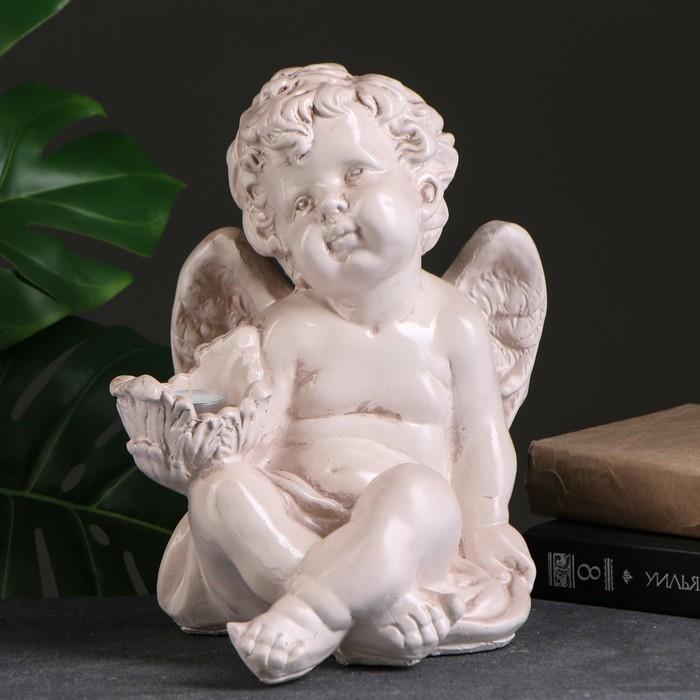 """Подсвечник """"Ангел сидя в руке"""" 26х21х30см состаренный"""
