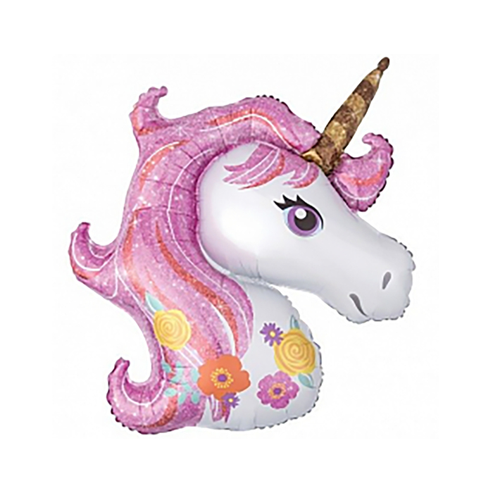 Шар фольгированный 16 Единорог, цвет розовый