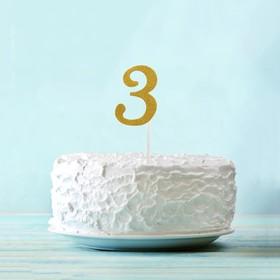 Топпер «3», набор 6 шт., цвет золотой