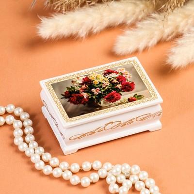 Шкатулка «Букет цветов в вазе», белая, 6×9 см, лаковая миниатюра
