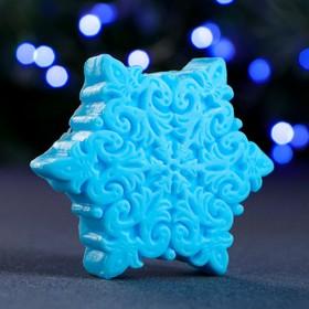 """Фигурное мыло """"Снежинка"""" голубая 71гр"""