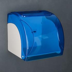 Держатель для туалетной бумаги пластиковый, без втулки 14×13.8×13 см, цвет синий с белым