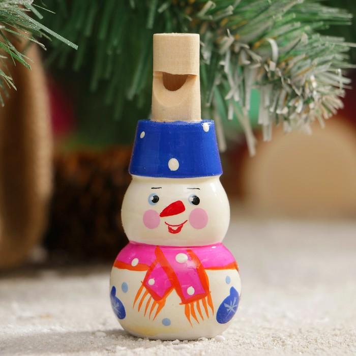 Свистулька Снеговик, 3х7 см, микс, ручная роспись