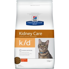 Сухой корм Hill's Cat k/d для кошек, лечение II стадии почечной недостаточности, курица, 1.5 кг