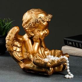 "Фигура - подсвечник ""Ангел с кувшинкой"" 23х23х27см бронза"