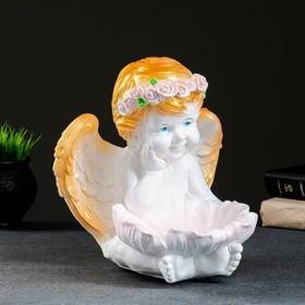 """Фигура - подсвечник """"Ангел с кувшинкой"""" 23х23х27см белое золото"""